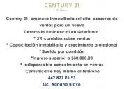 Century21 inmobiliaria solicita  asesores de venta