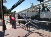 Instalacion de postes de camaras de seguridad en v
