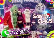 Santa claus con muñeco de nieve y duende cdmx/edom