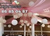 Decoraciones con globos y telas para bodas