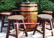 Renta de mesitas tipo bar de barril madera vintage