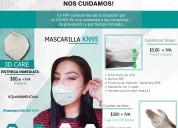 Mascarilla kn95, cubrebocas y guantes de latex