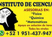 Ayuda en ejercicios y exámenes de química y fisica
