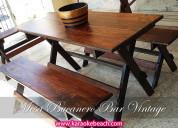 Renta de mesas madera rusticas vintage san nicolas